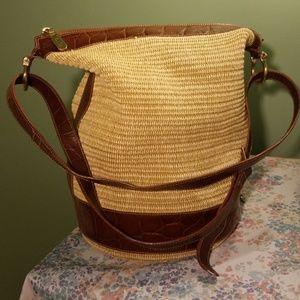 Furla straw and leather bucket bag